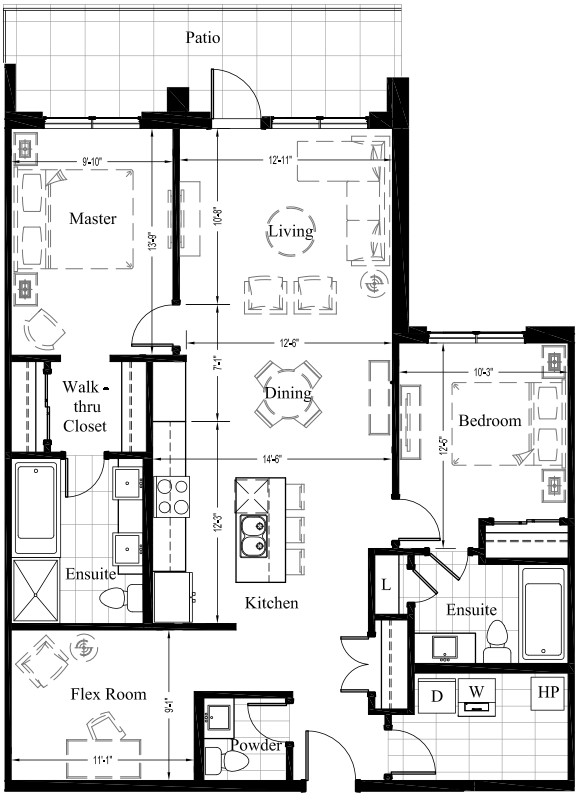 Suite 105 – 1,270 Sq Ft – 2Bdrm – Floor Plan 2D