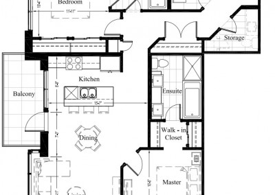 Suite 202 – 1,213 Sq Ft – 2 Bdrm Floor Plan 2H