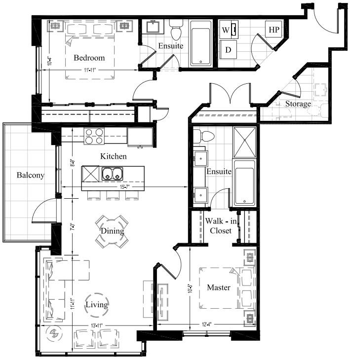 Suite 202 – 1,213 Sq Ft – 2 Bdrm Floor Plan 2H