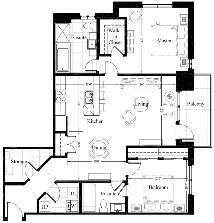 Suite 204 – 1,234 Sq Ft – 2 Bdrm Floor Plan 2G