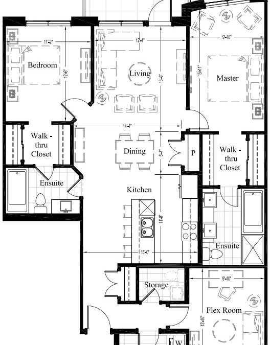 Suite 206 – 1,393 Sq Ft – 2 Bdrm Floor Plan 2J