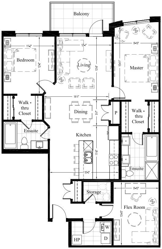 Suite 206 – 1,393 Sq Ft – 2 Bdrm Floor Plan 2J