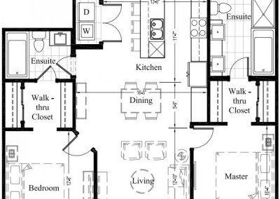 Suite 304 – 1,234 Sq Ft – 2 Bdrm Floor Plan 2G