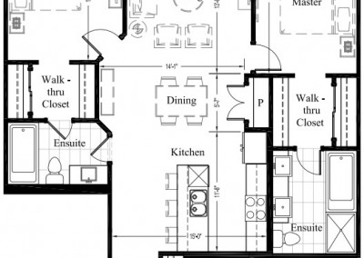 Suite 306 – 1,393 Sq Ft – 2 Bdrm Floor Plan 2J