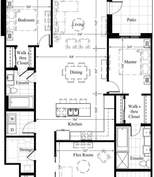 Suite 404 – 1,588 Sq Ft – 2 Bdrm Floor Plan 2L
