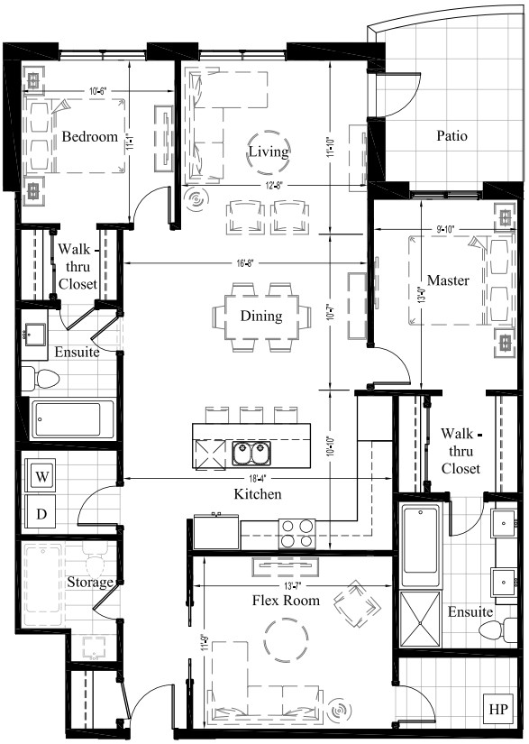 Suite 405 – 1,588 Sq Ft – 2 Bdrm Floor Plan 2L