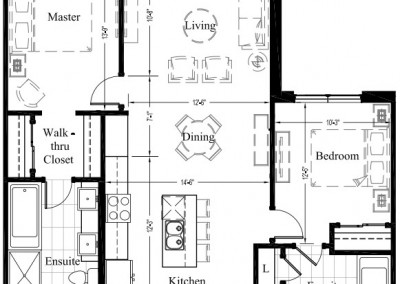 Suite 105 – 1,271 Sq Ft – 2Bdrm – Floor Plan 2D