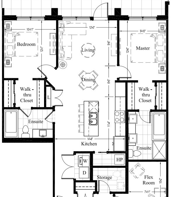 Suite 106 – 1,252 Sq Ft – 2 Bdrm-Floor Plan 2B