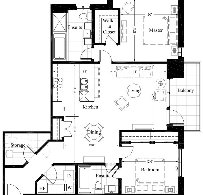 Suite 204 – 1,234 Sq Ft – 2 Bdrm Floor Plan 2G