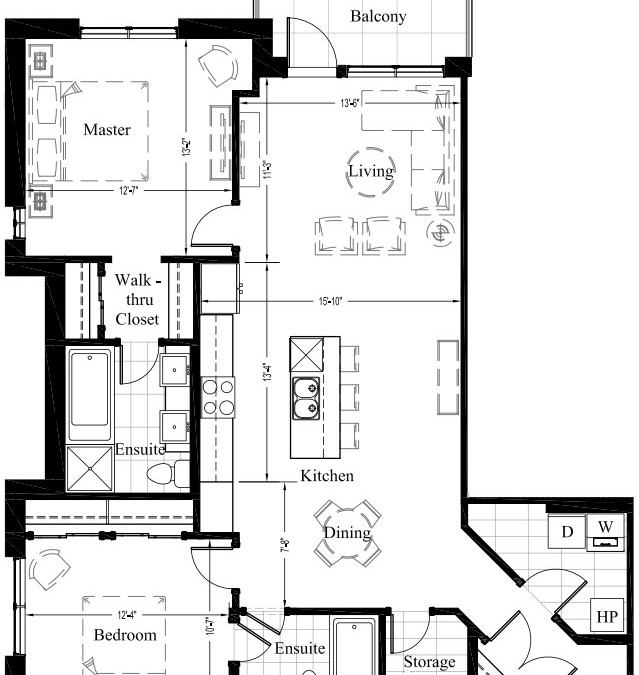 Suite 207 – 1,227 Sq Ft – 2 Bdrm Floor Plan 2F